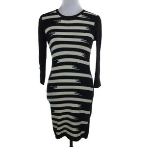 Gryphon $320 Black & Ivory Cashmere Sweater Dress